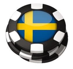 Tre spelpolletter med svensk flagga inuti