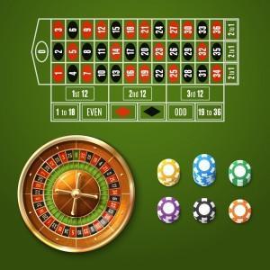 Animerad bild med roulettehjul och insatser + spelmarker